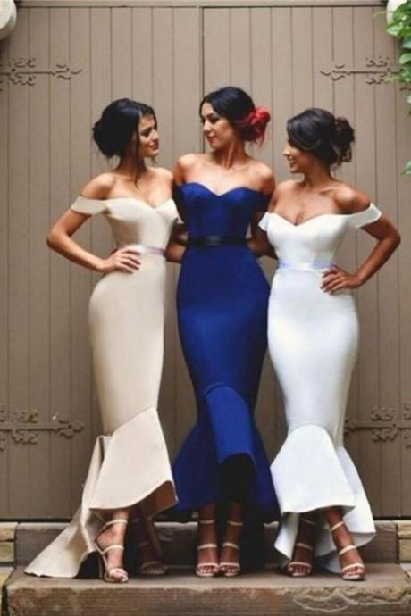 Off-the-Shoulder Bridesmaid Dresses with Bowknot Hi-Lo Maid of the Honor Dresses