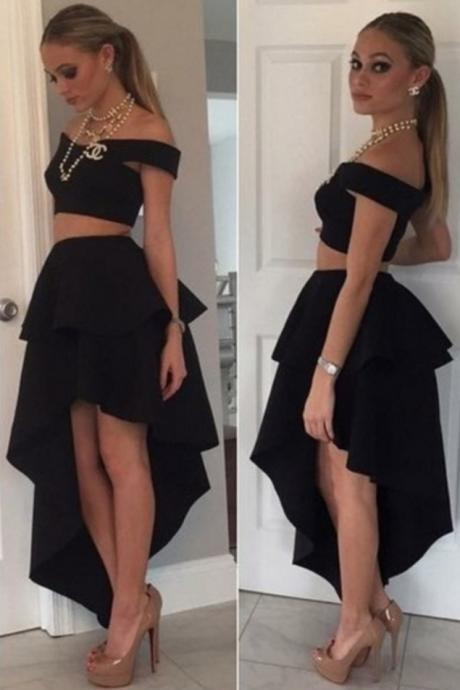 Sexy Two Pieces Party Dresses Hi-Lo Off-the-Shoulder A-line Homecoming Dresses