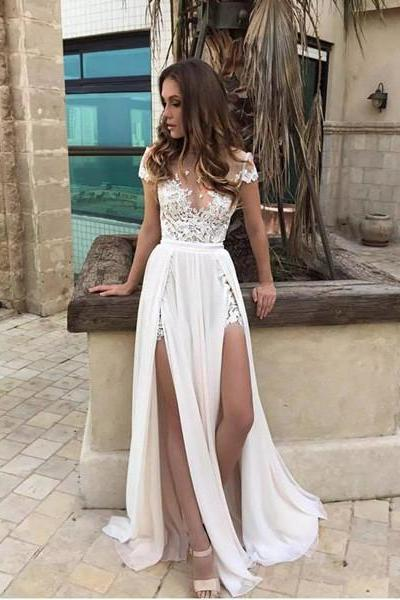 Sexy Summer Beach Wedding Dresses Side Slits A-line Bridal Gowns