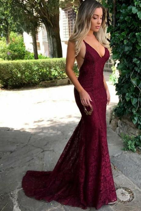 Sexy Burgundy Lace Prom Dresses , V-Neck Spaghettis Straps Evening Gowns
