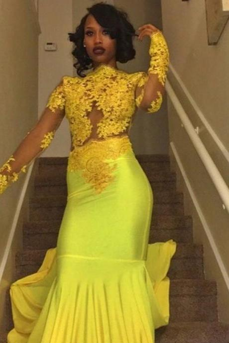 Sexy Yellow Mermaid Prom Dresses, Sheer Lace Long Sleeves Evening Gowns