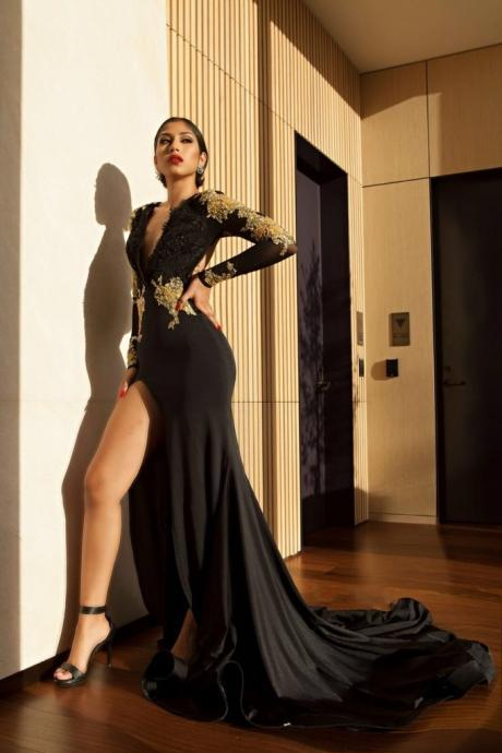 Amazing Black Gold Prom Dresses, High Side Slit Evening Gowns