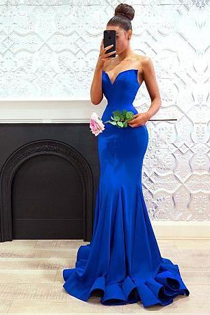 Sexy Royal Blue Prom Dresses, Sweetheart Neck Mermaid Evening Gowns