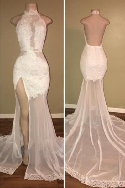 Sexy White Lace Prom Dresses, High Neck Backless Mermaid Evening Gowns