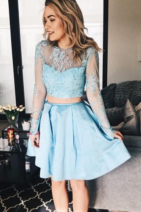 Romantic Two-Piece Blue Homecoming Dress, Long Sleeves Short Formal Dress